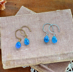 Lagoon Earrings - neon blue apatite gemstone drop earrings - Foamy Wader