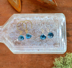 Ocean's Depth Earrings - london blue topaz gemstone drop earrings