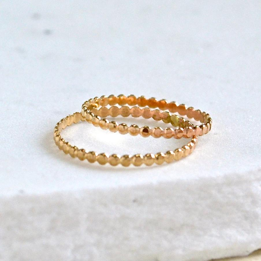 Droplets Ring - thin beaded dotted stacking ring in solid 14K gold - Foamy Wader