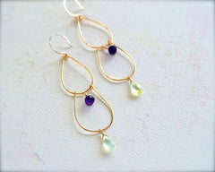 Table Grapes Earrings - handmade gemstone dangle earrings with purple amethyst and green prehnite