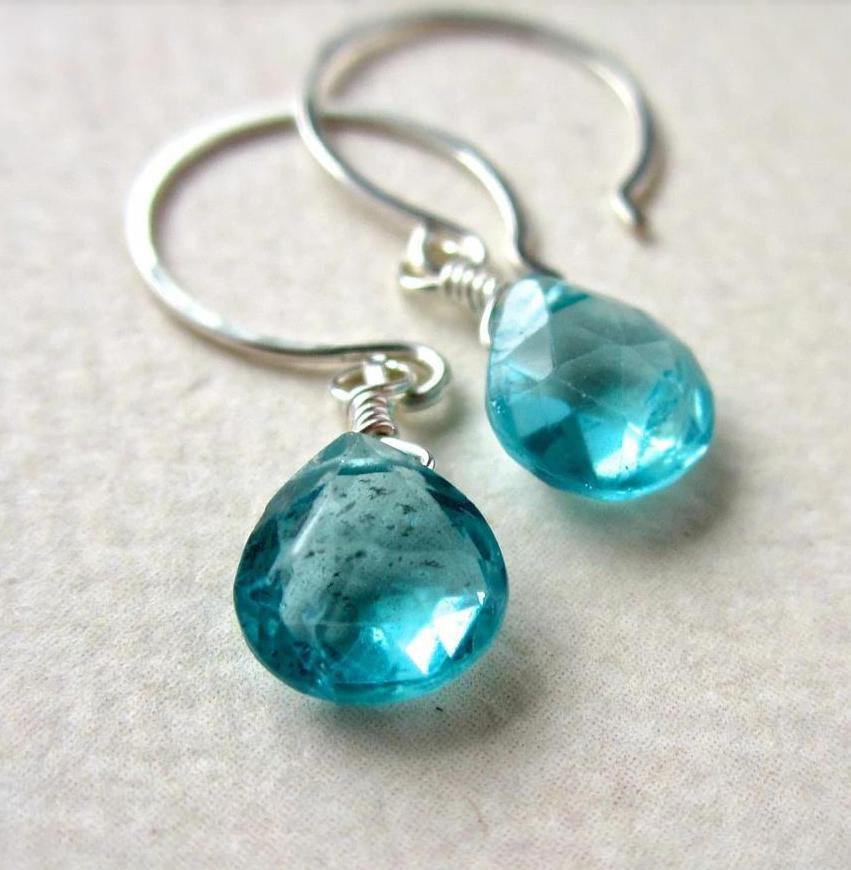 Glacial Waters Earrings - teal green apatite gemstone drop earrings in gold or silver