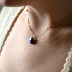 Midnight Necklace - lapis lazuli gemstone necklace with aquamarine and white topaz