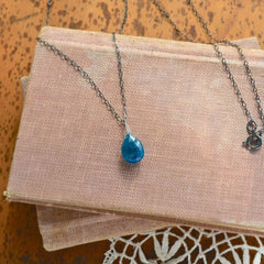 Lagoon Necklace - neon blue apatite solitaire necklace on oxidized sterling silver