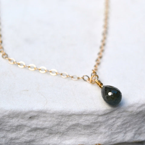 Viridian Necklace - blue green sapphire gemstone solitaire necklace in 14K Gold - Foamy Wader