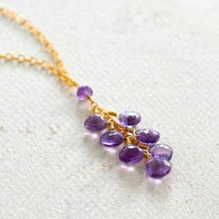 Wisteria Necklace - purple amethyst gemstone tendril dangle necklace - Foamy Wader