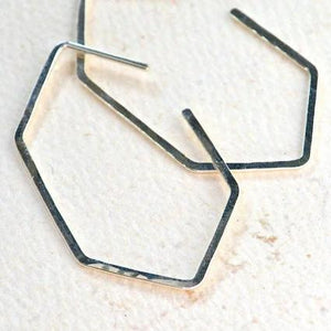 Buoy Hoop Earrings - handmade hammered elongated hexagon hoop earrings - Foamy Wader