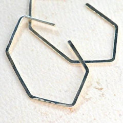 Buoy Hoop Earrings - hammered gold or silver elongated hexagon hoop earrings