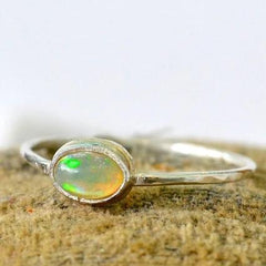 Fire Within Ring - opal ring bezel set in sterling silver