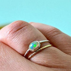 Fire Within Ring - east west bezel set opal ring handmade in sterling silver - Foamy Wader