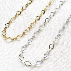 Maldives Necklace - handmade delicate geometric diamond chain necklace - Foamy Wader