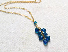 Oasis Necklace - electric blue apatite gemstone tendril dangle necklace in gold or silver