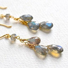 Gray Skies Earrings - labradorite gemstone dangle tendrils earrings - Foamy Wader