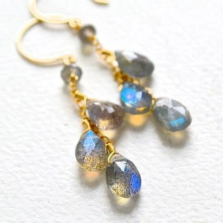 Gray Skies Earrings - blue flashing labradorite gemstone tendrils dangle earrings in gold or silver