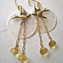 La Bella Luna Petite Earrings - bird and moon earrings with citrine