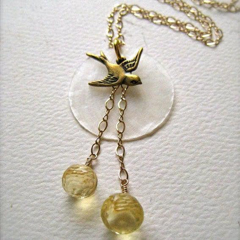 La Bella Luna Petite Necklace - bird and moon necklace with citrine