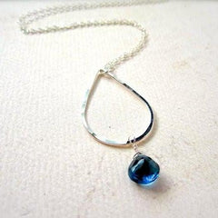 Ocean's Depth Necklace - teardrop pendant necklace with london blue topaz - Foamy Wader