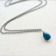 Lagoon Necklace - electric neon blue apatite solitaire necklace - Foamy Wader