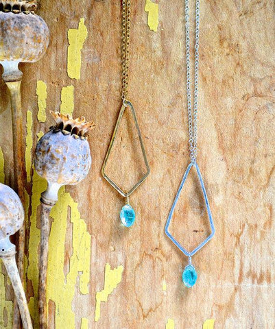 Dunes Necklace - geometric kite pendant necklace with teal apatite gemstone