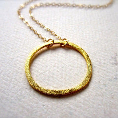 Eternity Necklace - handmade gold or silver single circle eternity necklace