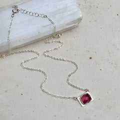 The Moon in October Necklace - east west bezel set pink tourmaline pendant necklace handmade in silver - Foamy Wader