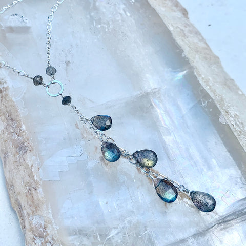 Clairvoyance Necklace - blue flash labradorite gemstone tendril dangle necklace