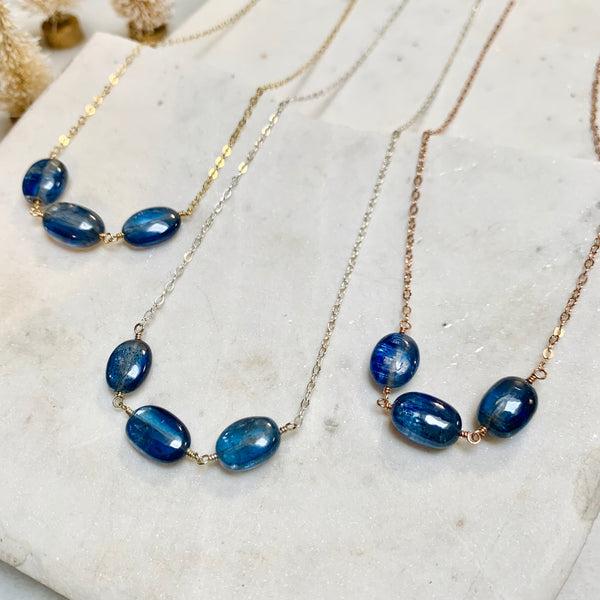Tranquility Necklace - luminous blue kyanite three gemstone necklace - Foamy Wader