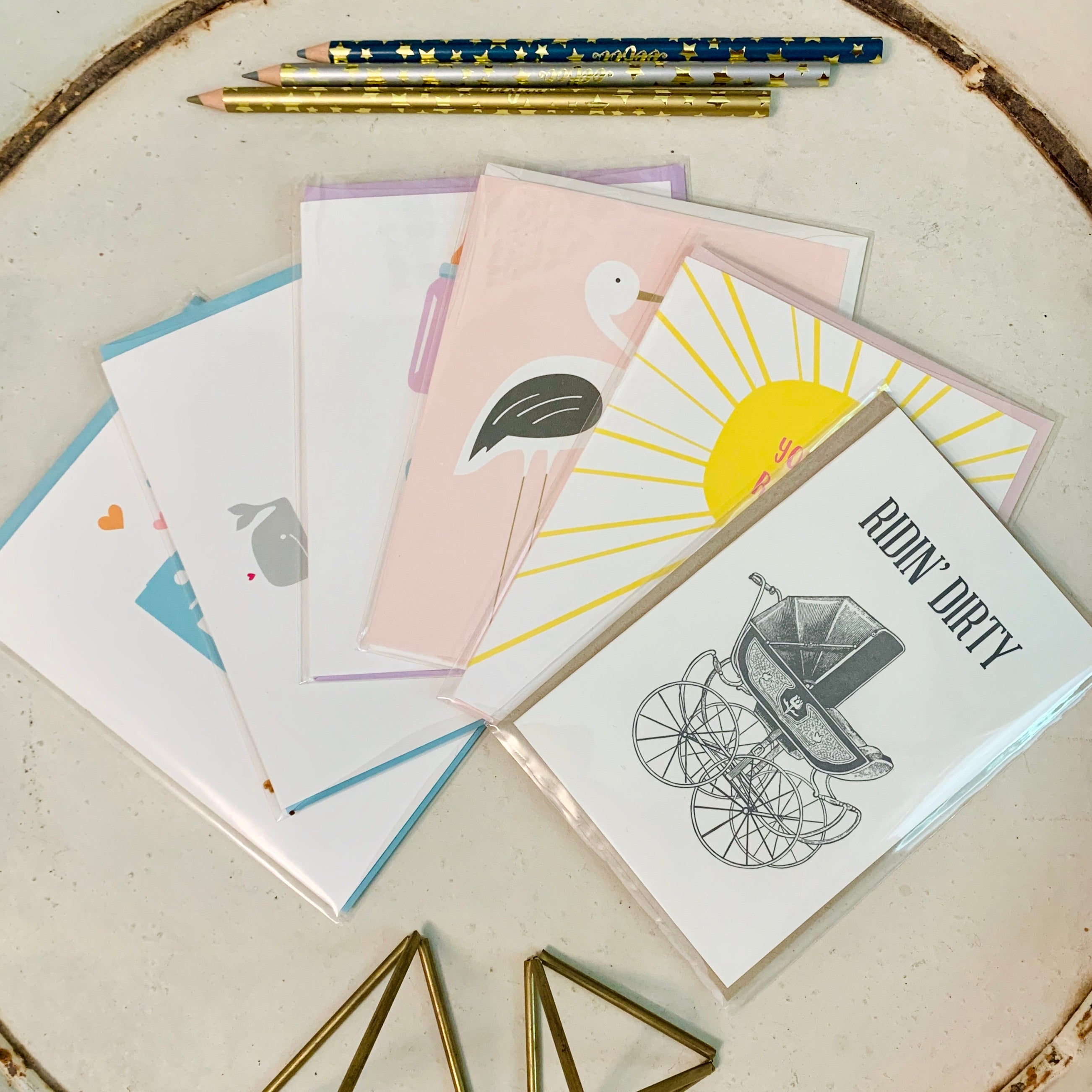 Baby greeting card 6 Pack - new baby notecards by female artists and printed in the usa - Foamy Wader