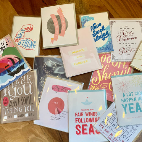 Mixed Greeting Card 10 Pack - usa made greeting cards from female artists - Foamy Wader