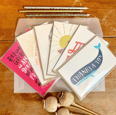 Thanks Friend greeting card 6 Pack - usa made thank you and encouragement cards by female artists