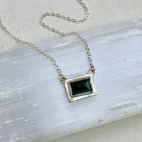 Blue Moon in October Necklace - east west bezel set blue tourmaline pendant necklace handmade in silver