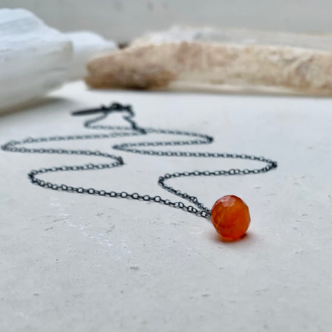 Blood Orange Necklace - plump orange carnelian solitaire necklace