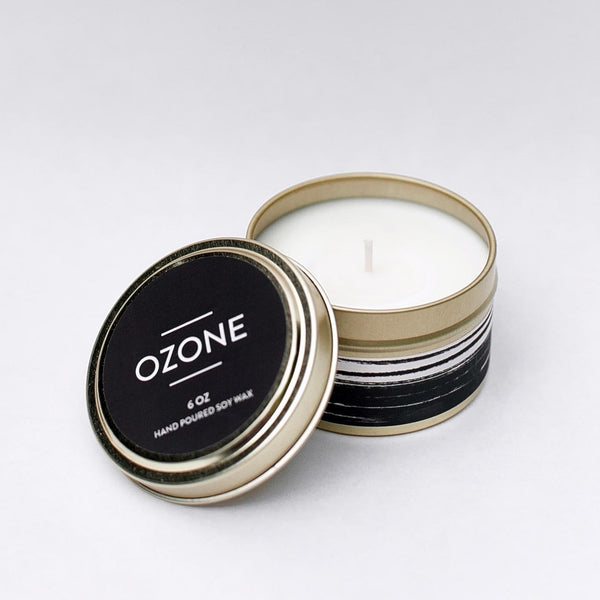 Ozone Candle by Particle Goods - soy wax candle with notes of oakmoss, amber, citrus, fern, sandalwood, earth, musk - Foamy Wader