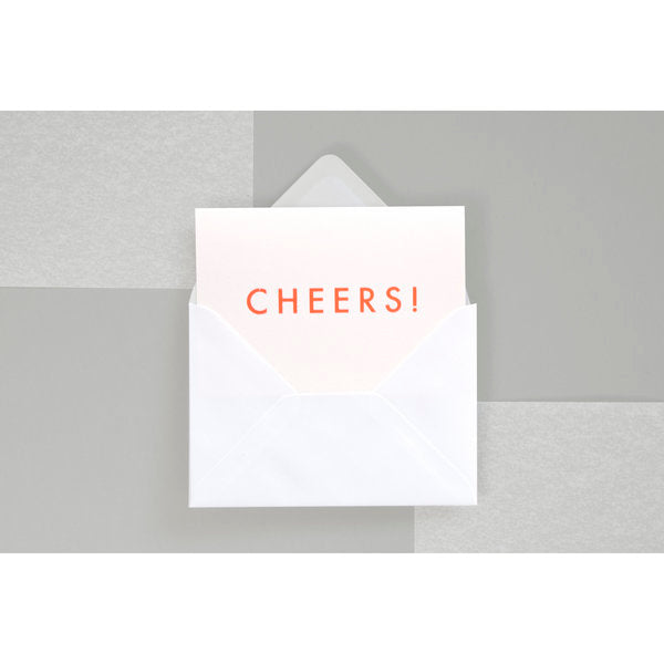 Cheers Card in Neon Orange/White