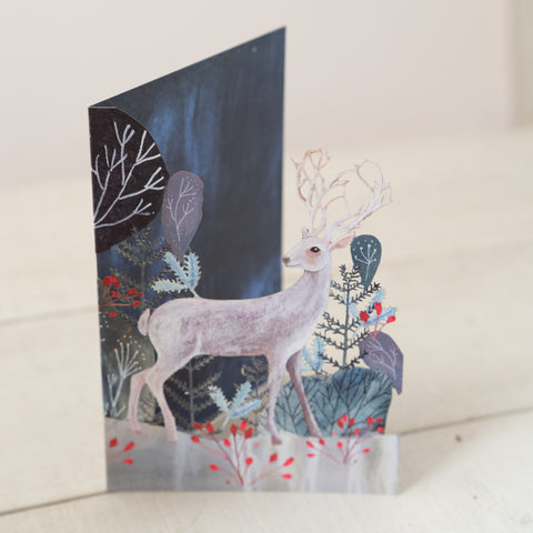 Silver Stag Laser Cut Christmas Card (Pack of 5).