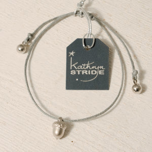 Grey cord Bracelet with Silver Acorn metal charm