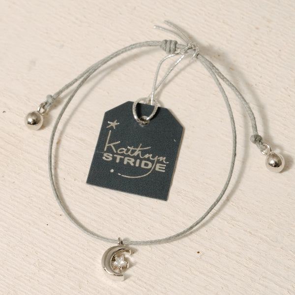 Grey cord Bracelet with Silver Moon and Diamante Star metal charm