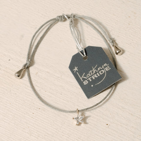 Grey cord Bracelet with delicate Diamanté Star charm
