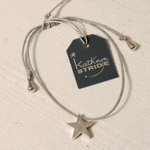 Grey cord Bracelet with larger Silver Star (12mm) metal charm