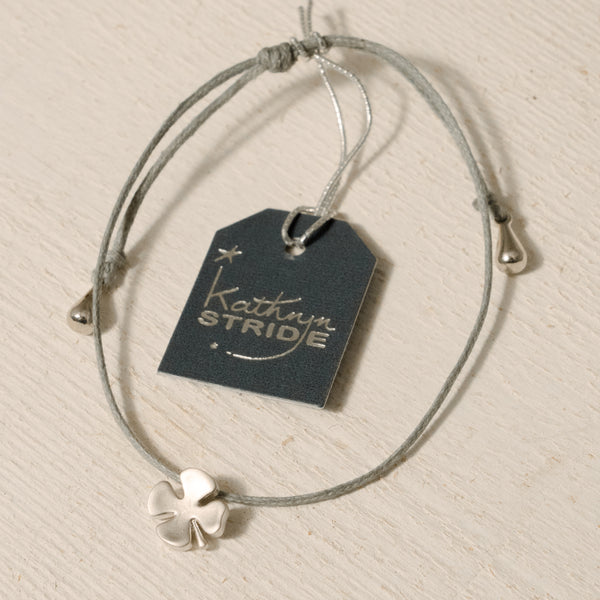 Grey cord Bracelet with Silver Four Leaf Clover metal charm