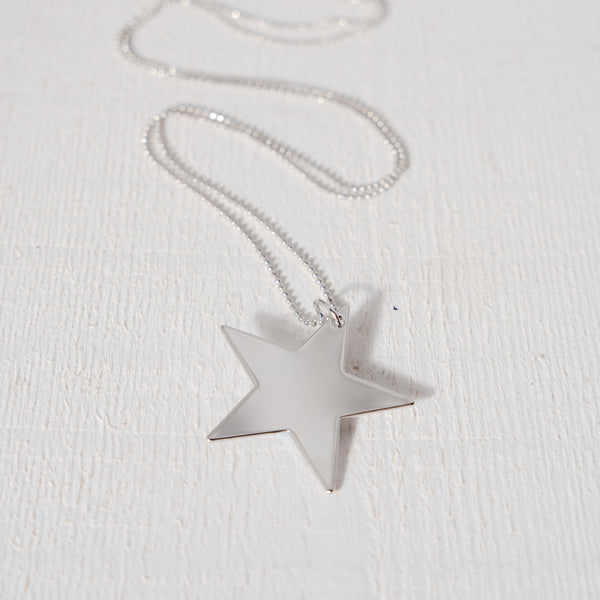 Large Silver Plated Star Pendant on long Ball Chain