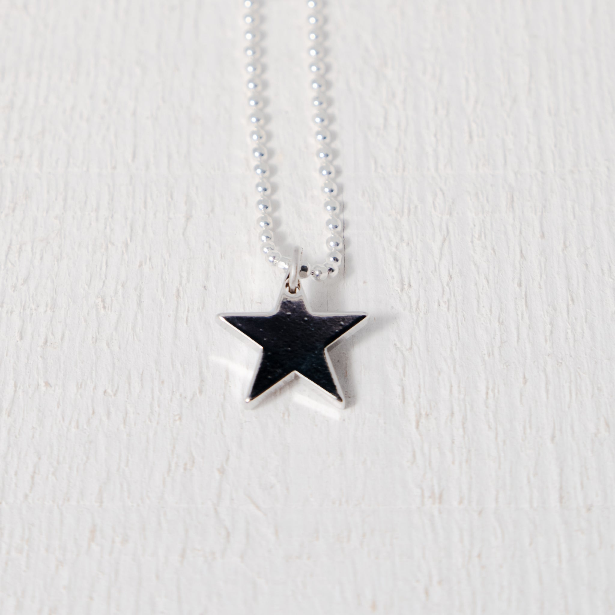 Silver Plated Star Pendant Necklace on Sterling Silver Chain