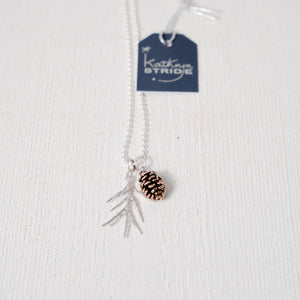 Bronze Pinecone and spruce frond Necklace