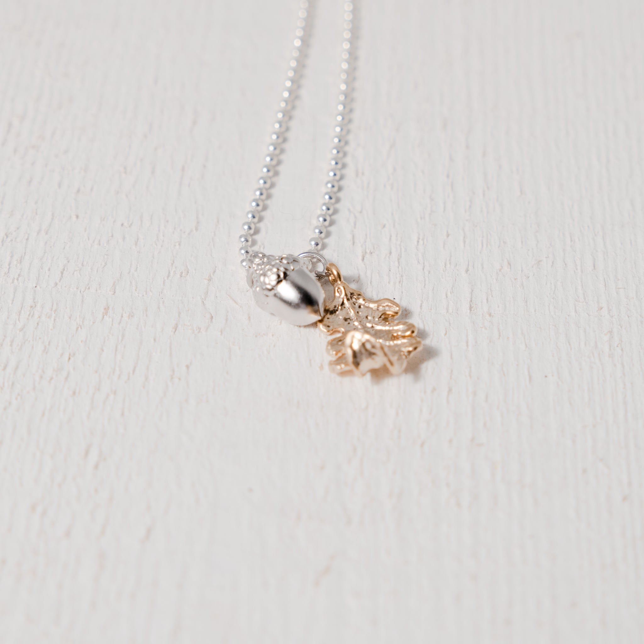 Silver Plated Acorn and Oak Leaf Necklace