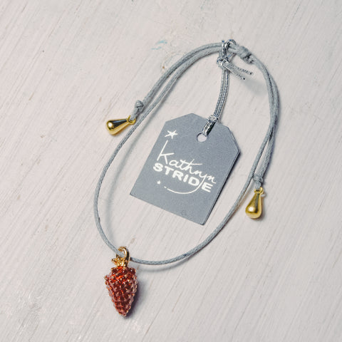 Grey cord Bracelet with enamel Strawberry charm