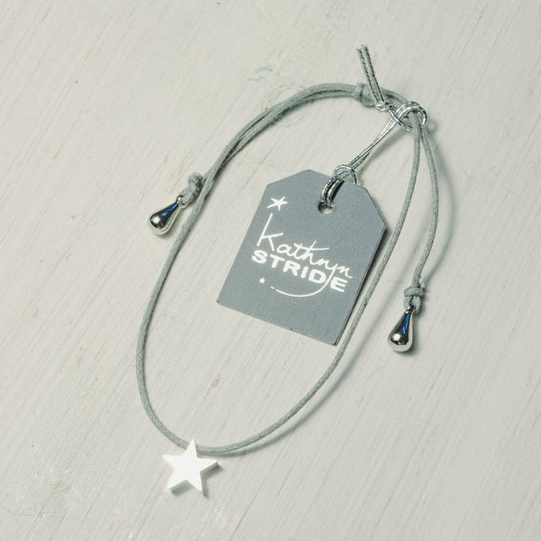 Grey cord Bracelet with Silver coloured Star(8mm) charm