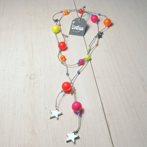 Stars and Neon Bead cord wrap necklace