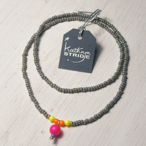 Neon and grey seed bead Necklace
