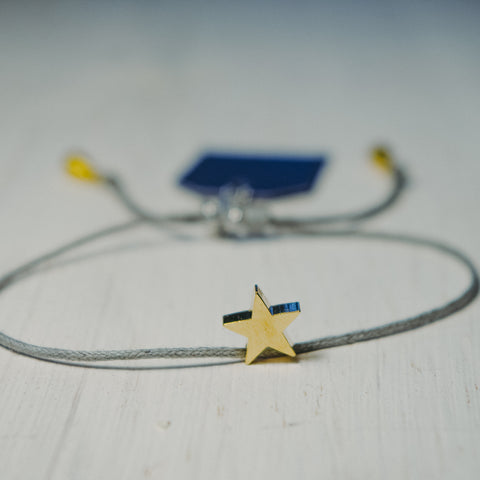 Grey cord Bracelet with Gold Plated Star(8mm) charm