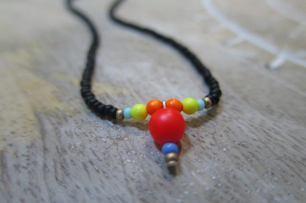 Neon and black seed bead Necklace