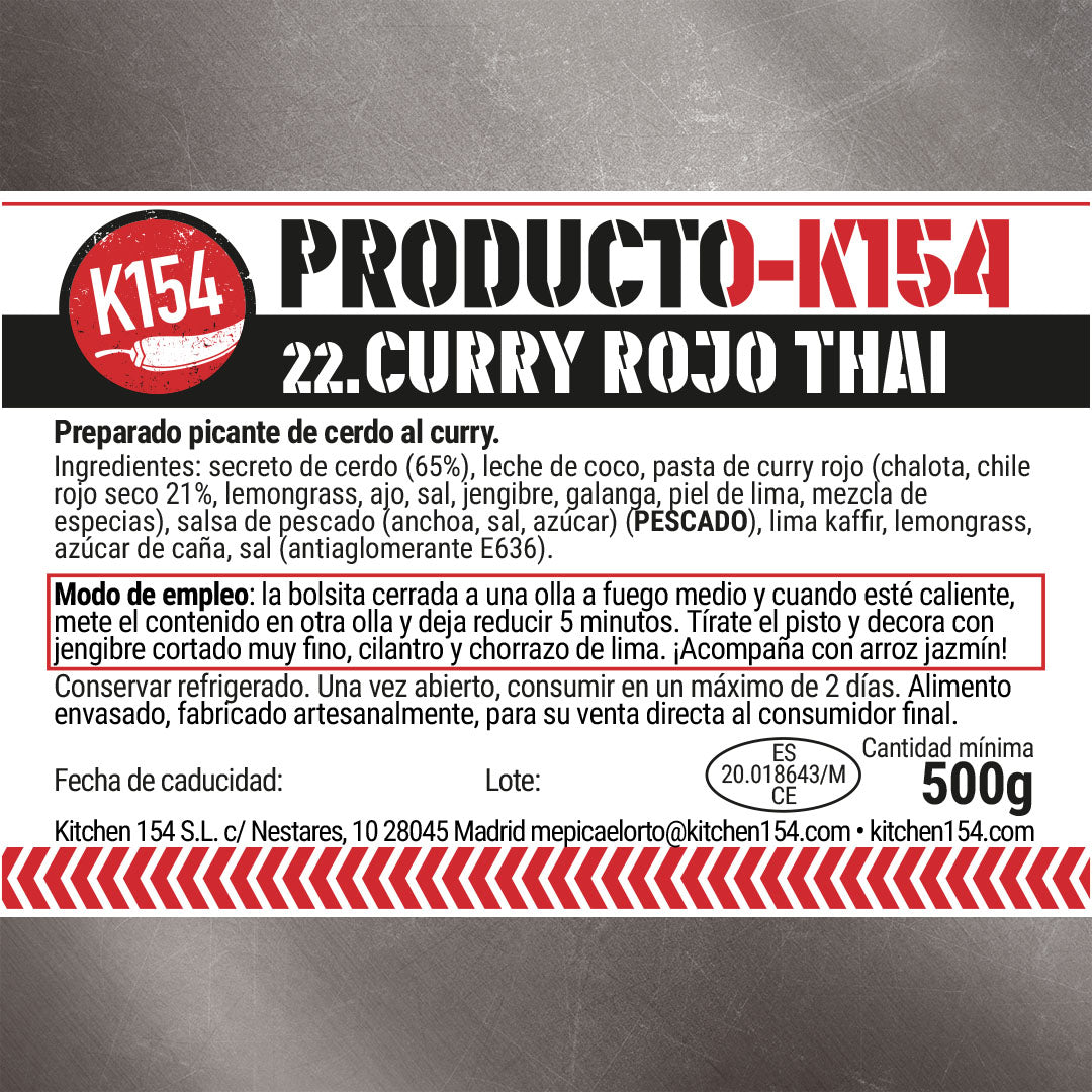 K154-22. CURRY ROJO THAI DE SECRETO